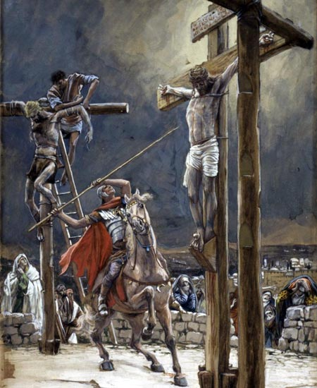 Crucifixion of Christ with spear by                   Tissot